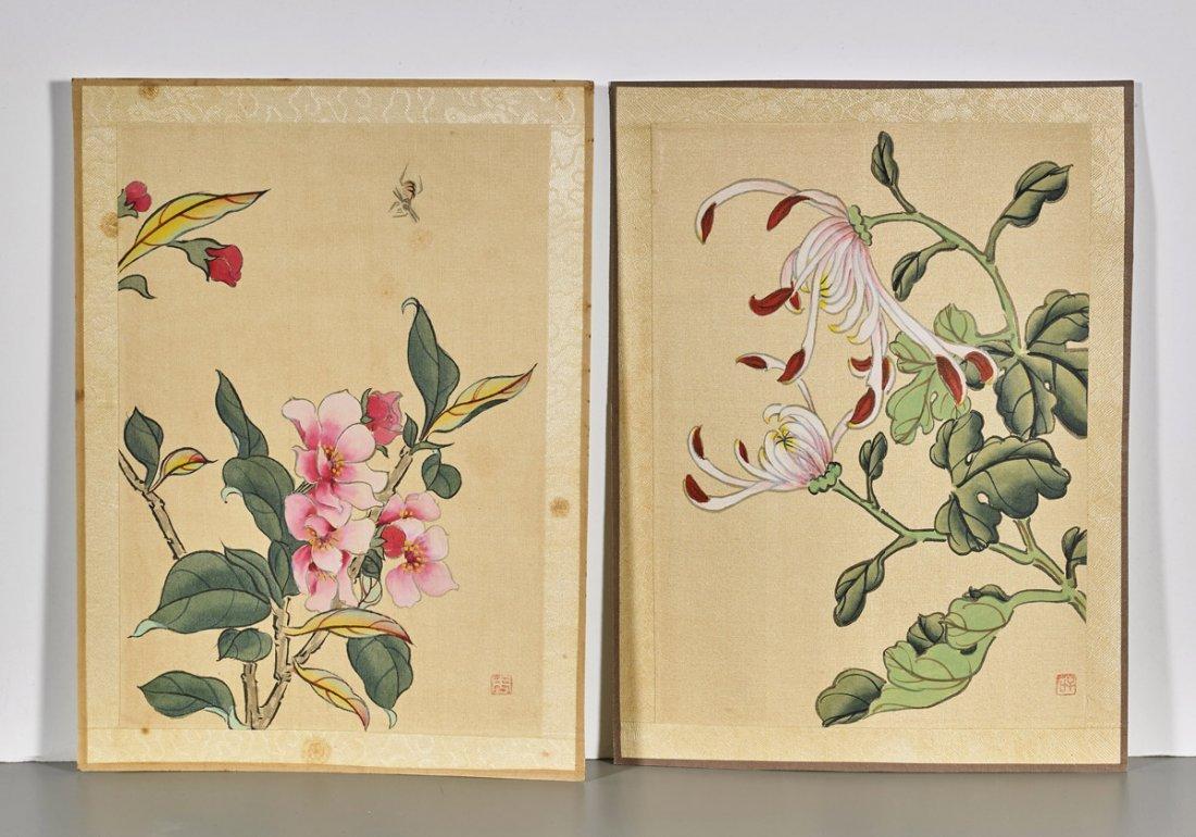 Ten Chinese Silk Flower Paintings - 3
