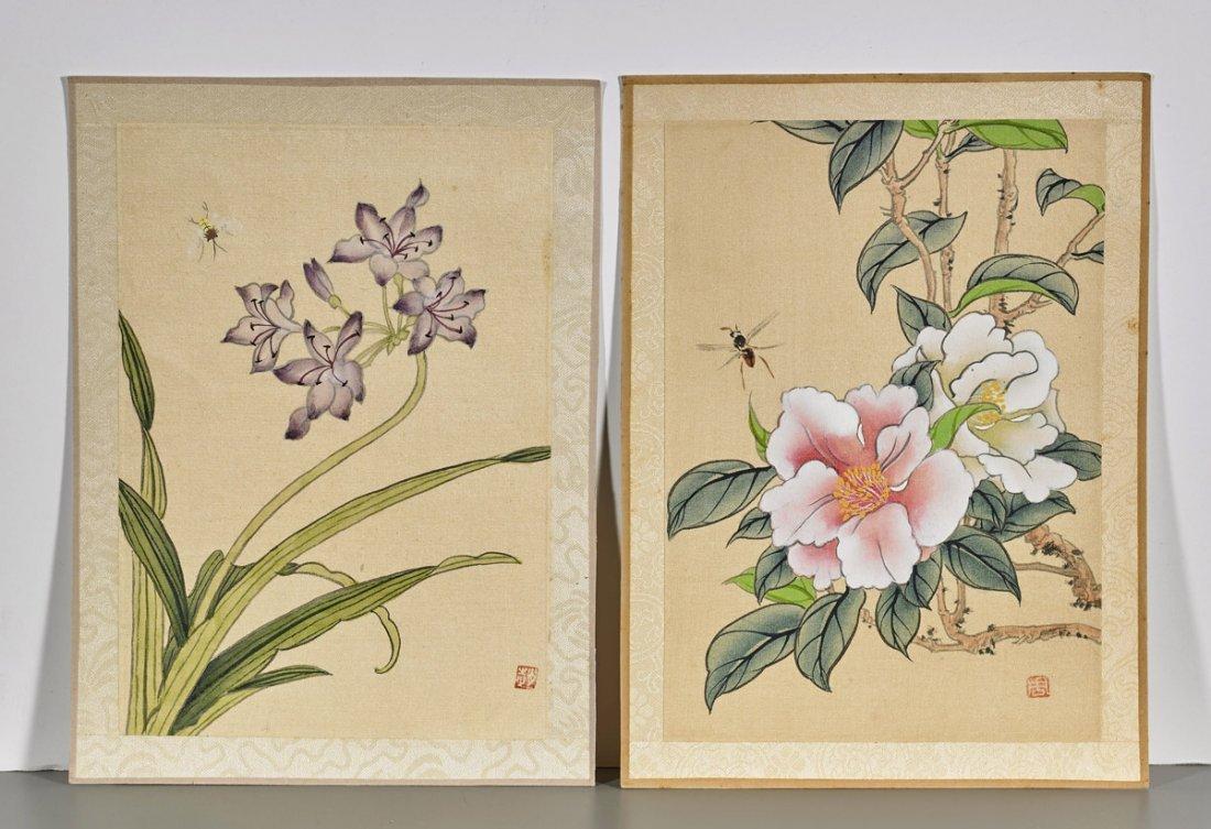 Ten Chinese Silk Flower Paintings - 4