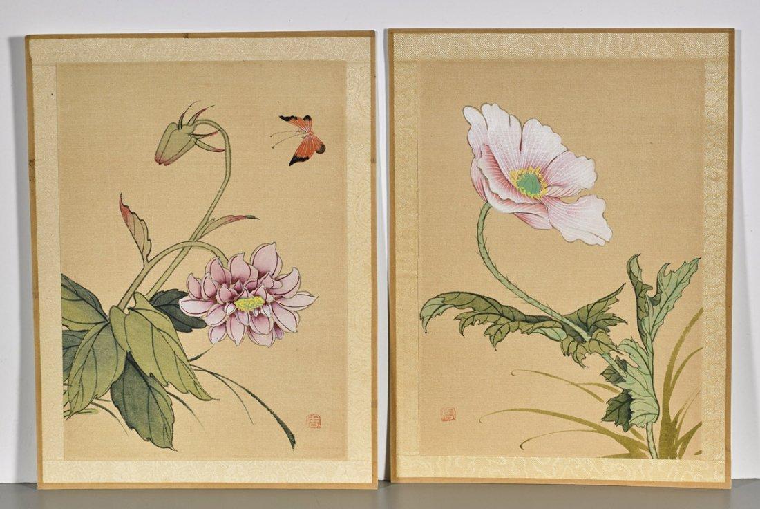 Ten Chinese Silk Flower Paintings - 5