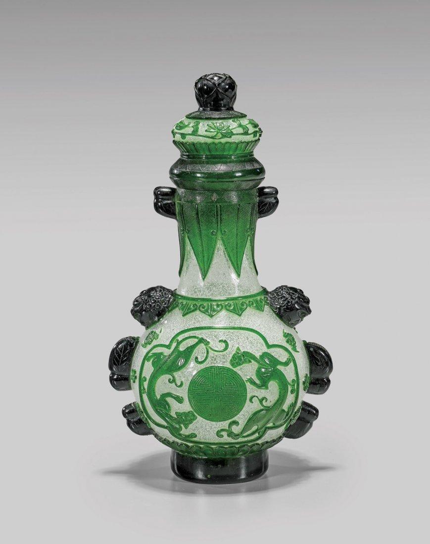 Beijing Green & Snowflake Glass Vase