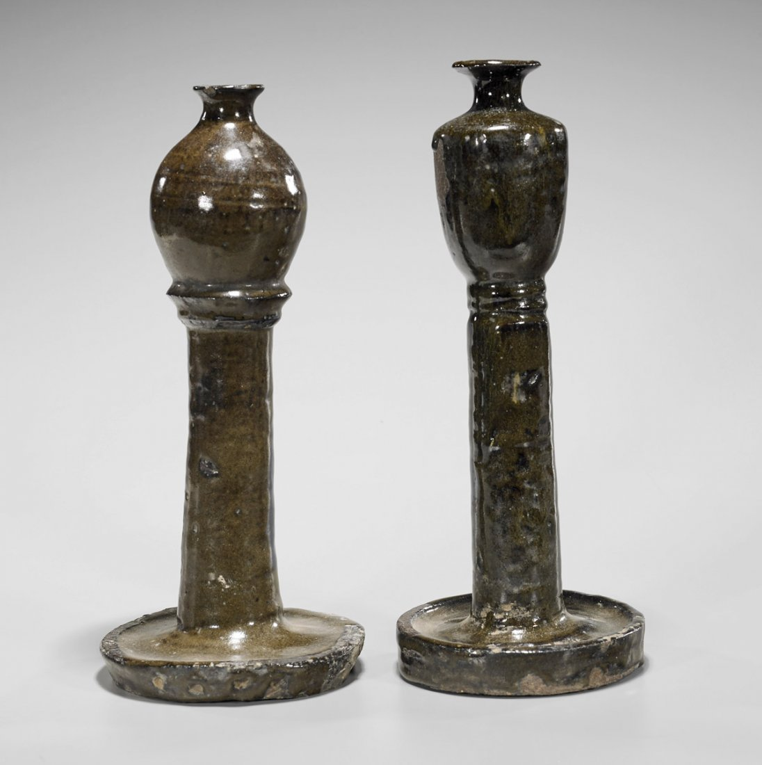 Two Jin Dynasty Henan Glazed Candlesticks
