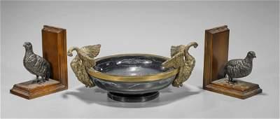 Three Bronze Bird Motif Items