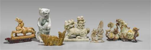 Collection of Six Chinese Animal Carvings