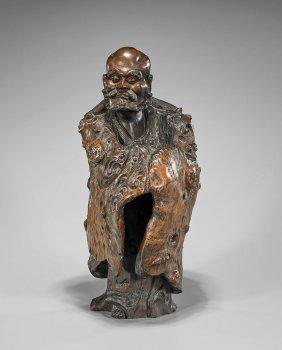 Elaborately Carved Chinese Burlwood Figure