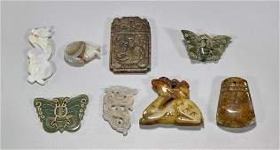 Eight Chinese Carved Jade & Hardstone Pieces