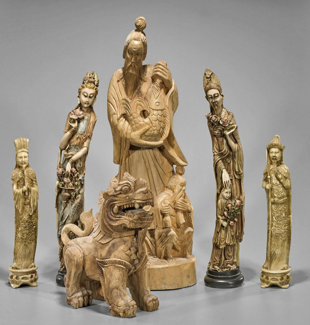 Six Various Chinese Statues: Lion & Figures