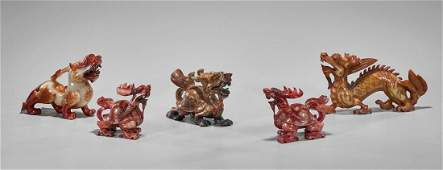 Five Chinese Hardstone Carvings: Lion, Dragon & Dragon