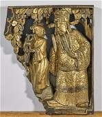 Pair Antique Chinese Gilt Lacquered Wood Panels