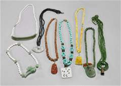 Eight Beaded Necklaces Jade Turquoise  Pearls
