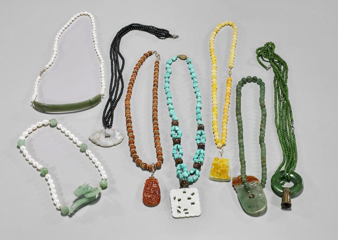 Eight Beaded Necklaces: Jade, Turquoise & Pearls