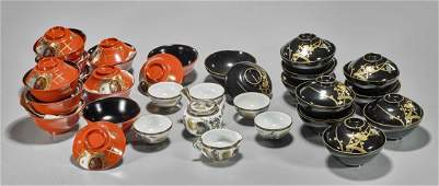 Large Collection of Antique Japanese Tableware: Lacquer