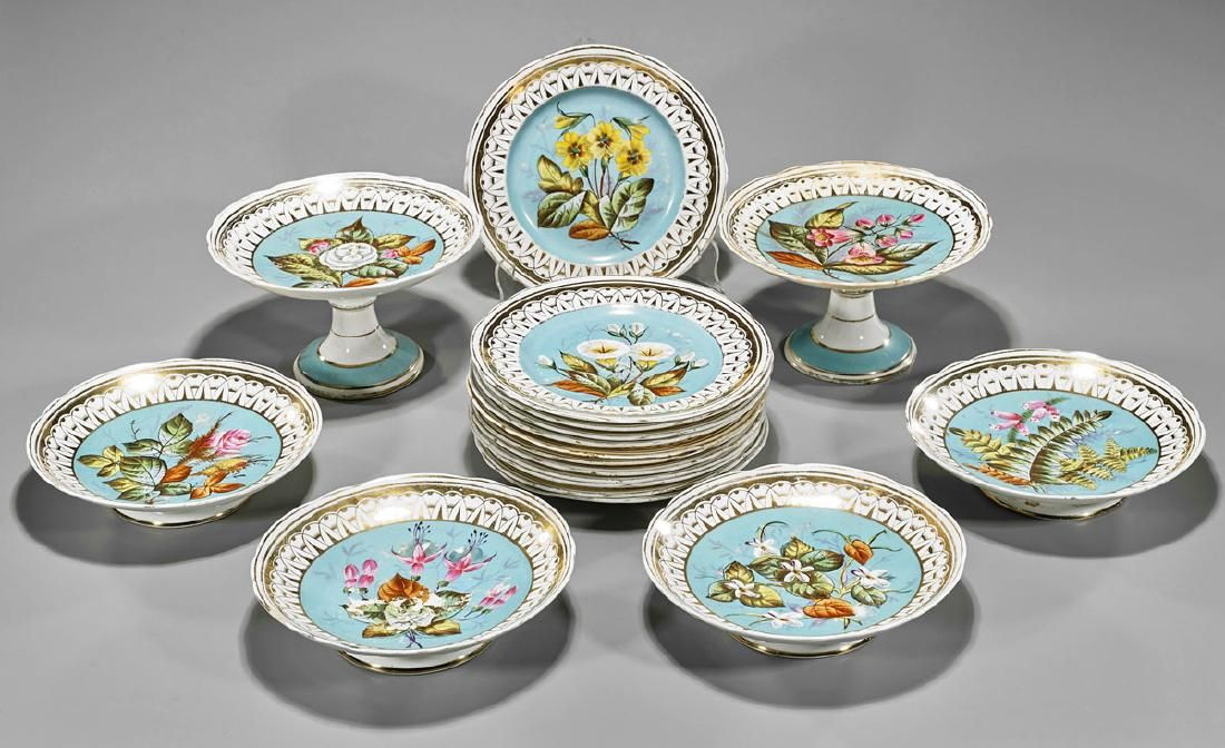 Set of Porcelain Tableware: Plates, Dishes & Tazzas