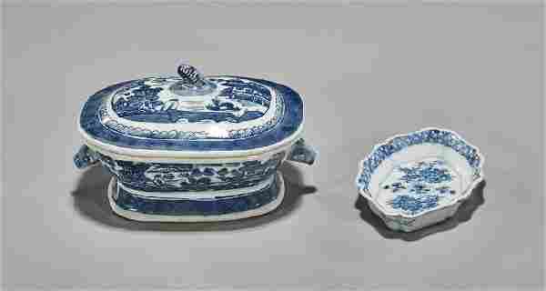 Antique Export Porcelain Tureen & Dish