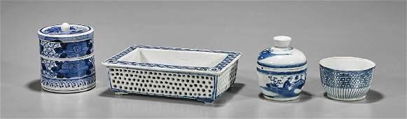 Four Antique Blue & White Porcelains