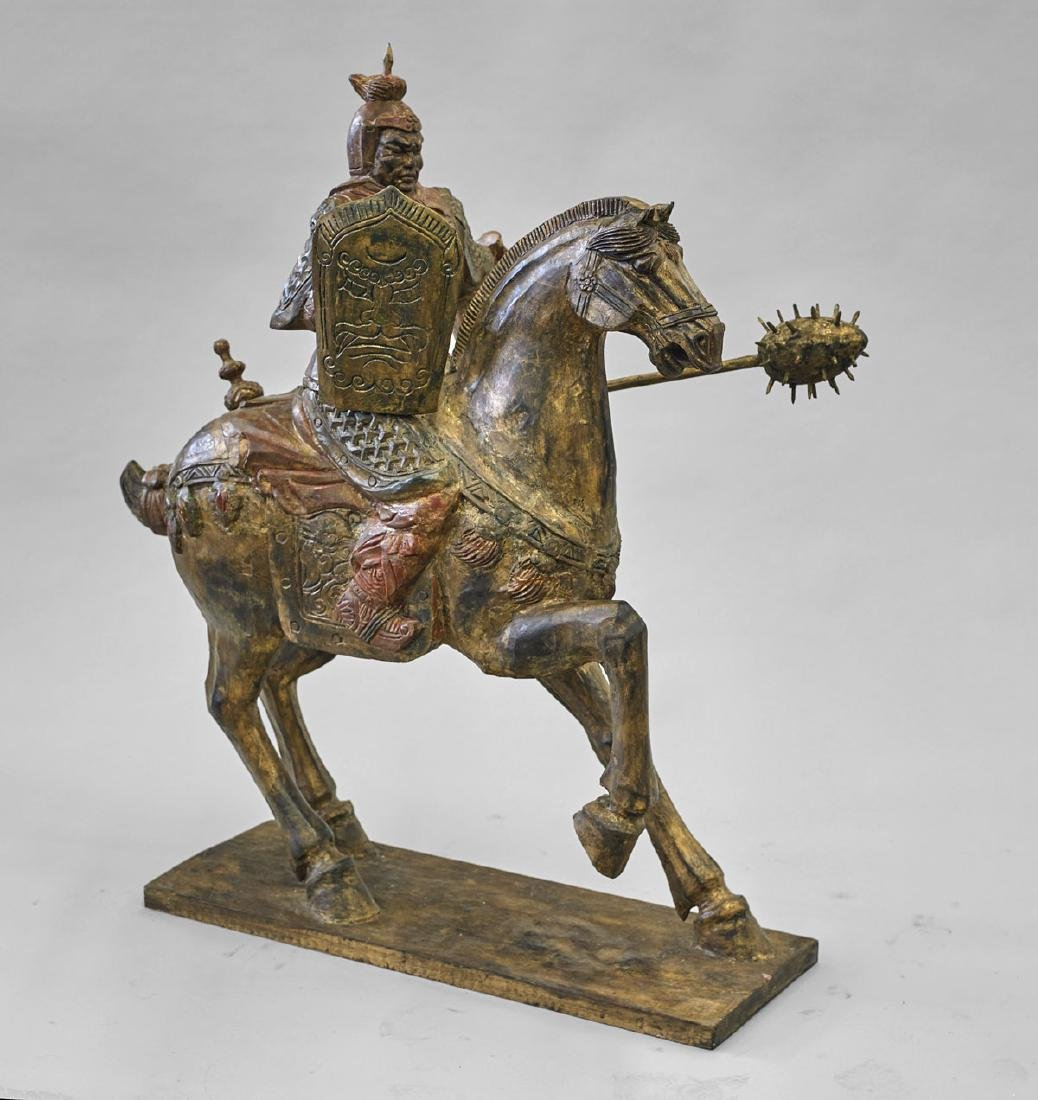 Massive Chinese Carved Wood Horse & Rider