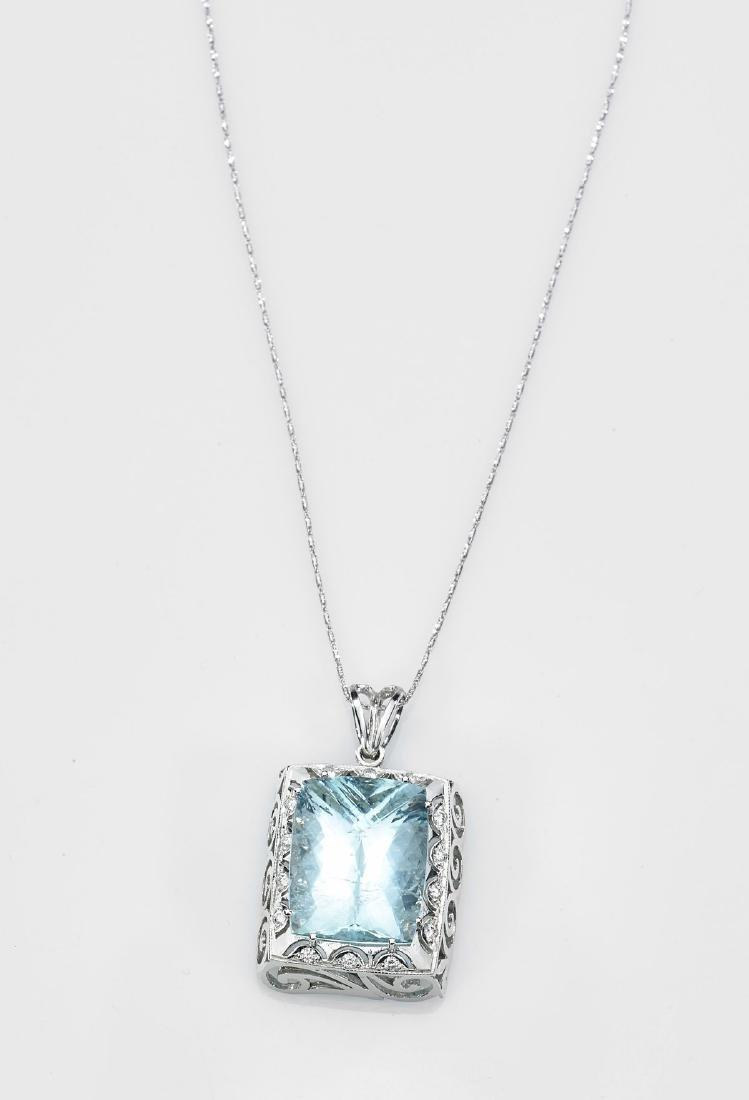 Victorian-Style Aquamarine Pendant Necklace