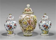 Three Continental Ceramic Covered Jars