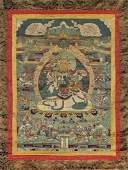 TWO SINO-TIBETAN PAINTED THANGKA: Jambhala