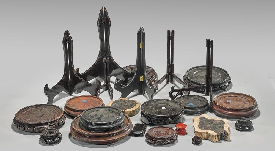 Group of Twenty-Three Assorted Wood Stands