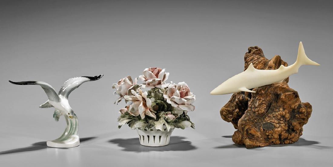 Three Decorative Items: Bird, Shark & Flowers