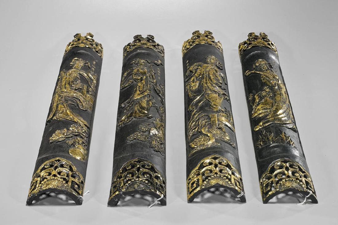 Four Chinese Parcel Gilt Panels: Celestial Beauties