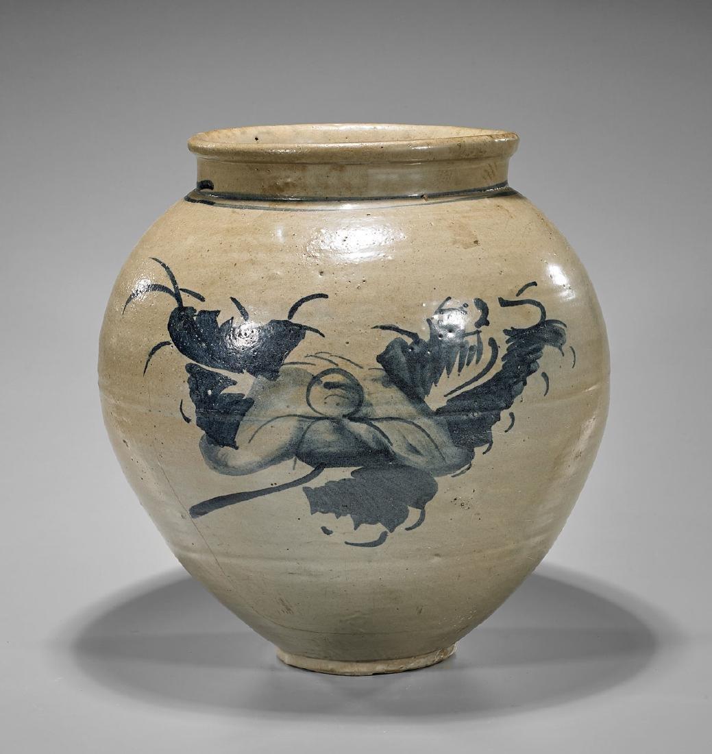 Large Korean Glazed Ceramic Jar