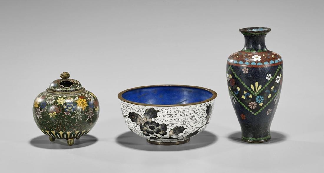 Three Old & Antique Cloisonne Pieces