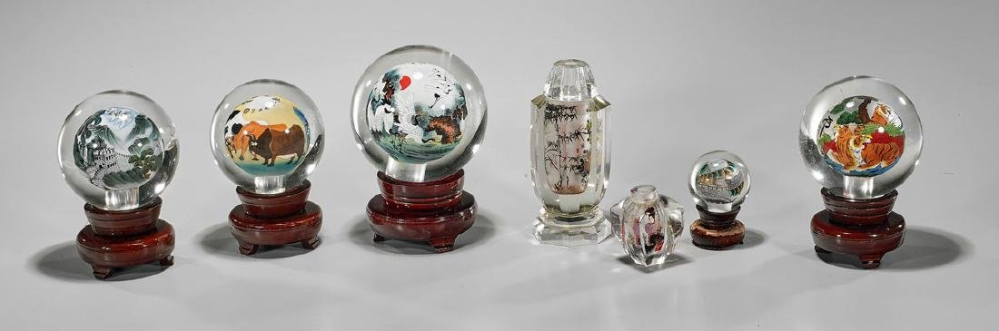 Group of Inside-Painted Glass Pieces