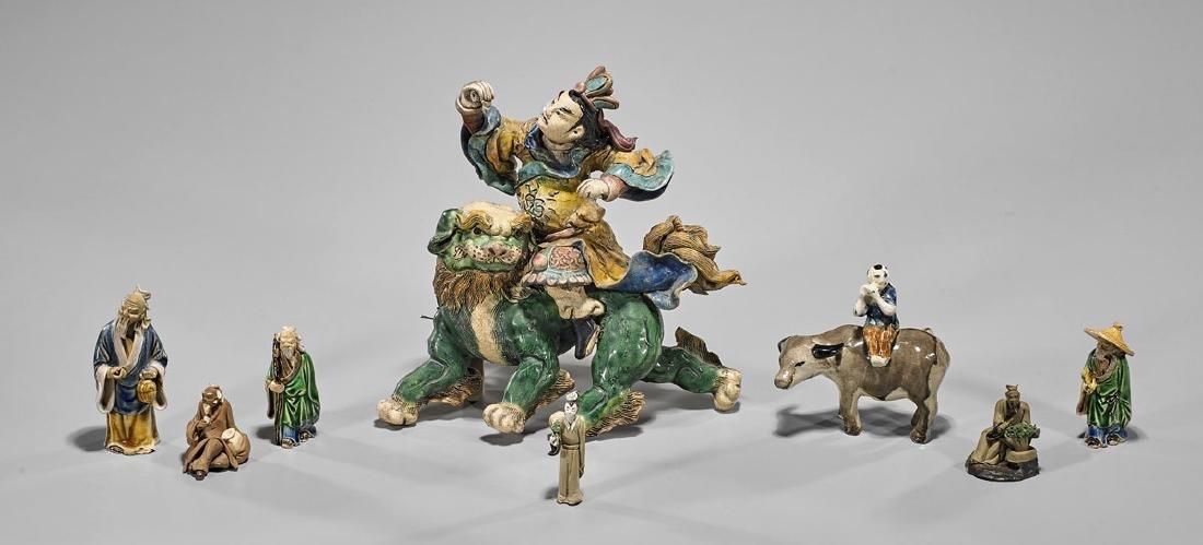 Eight Various Chinese Ceramics: Roof Tile & Mudmen