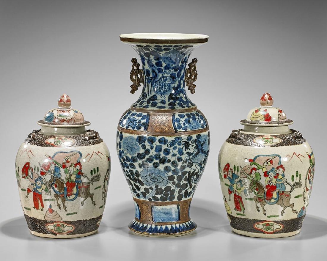 Three Chinese Porcelains: Vase & Jars