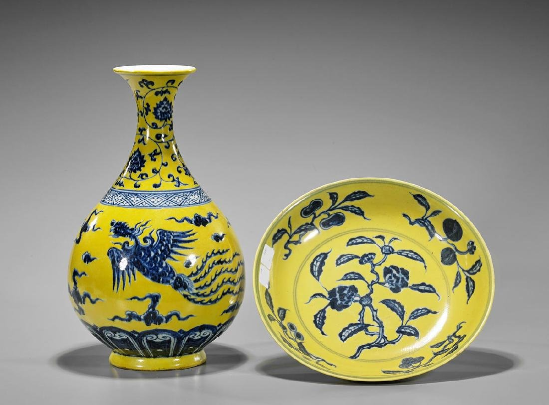 Two Chinese Yellow Ground Porcelains