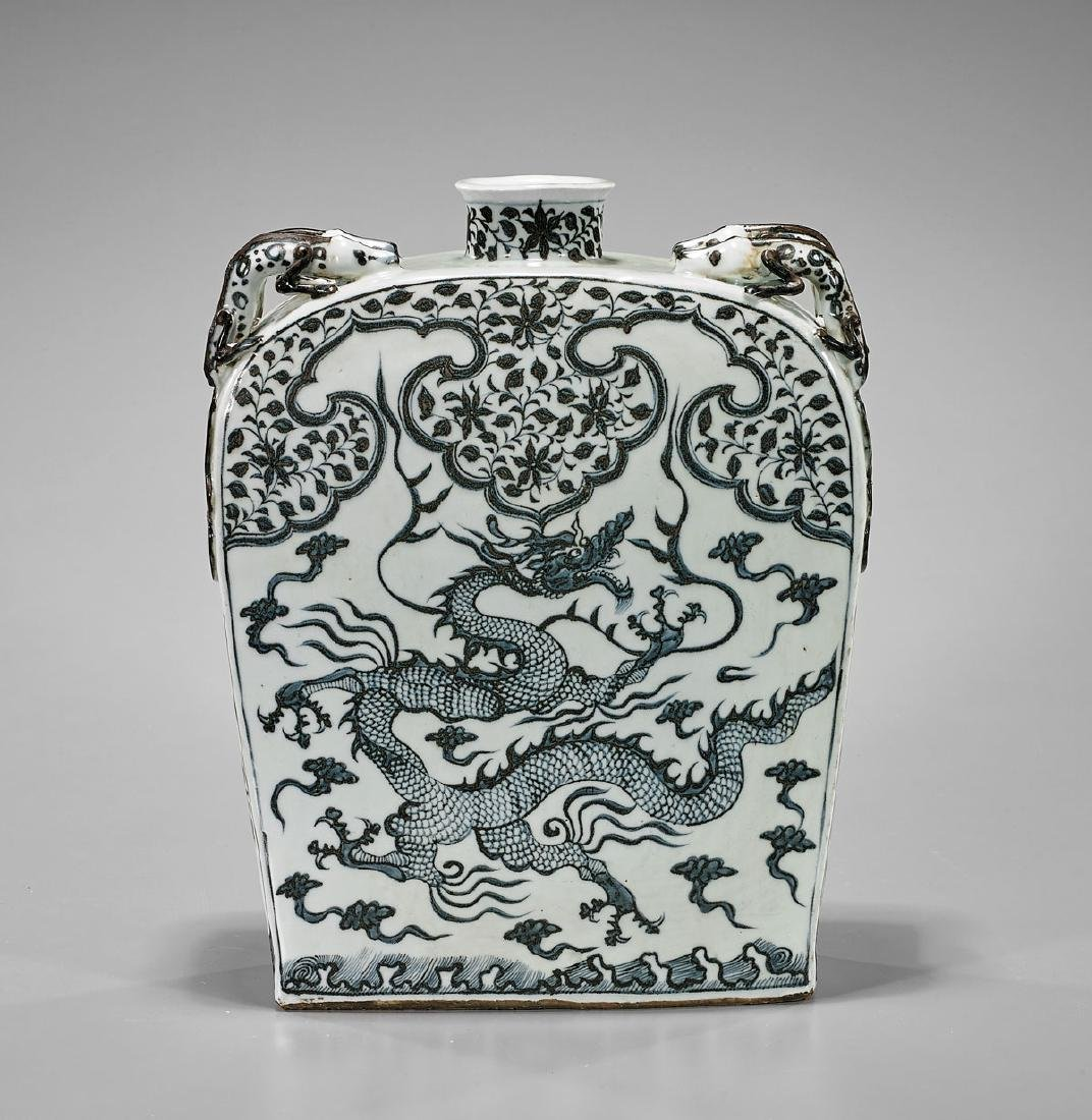 Large Yuan-Style Porcelain Flask