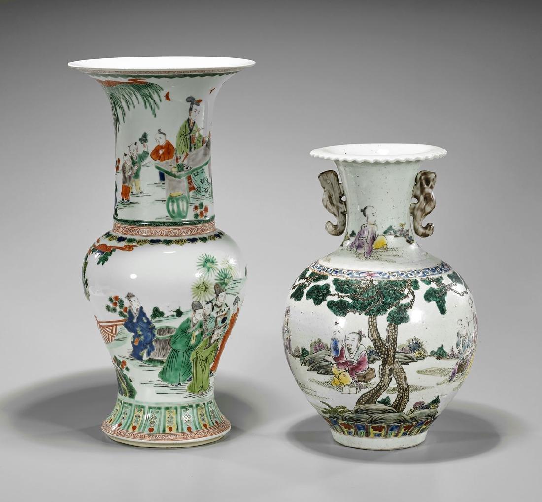 Two Chinese Enameled Porcelain Vases