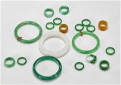 Group of Jade or Hardstone Bangles & Rings