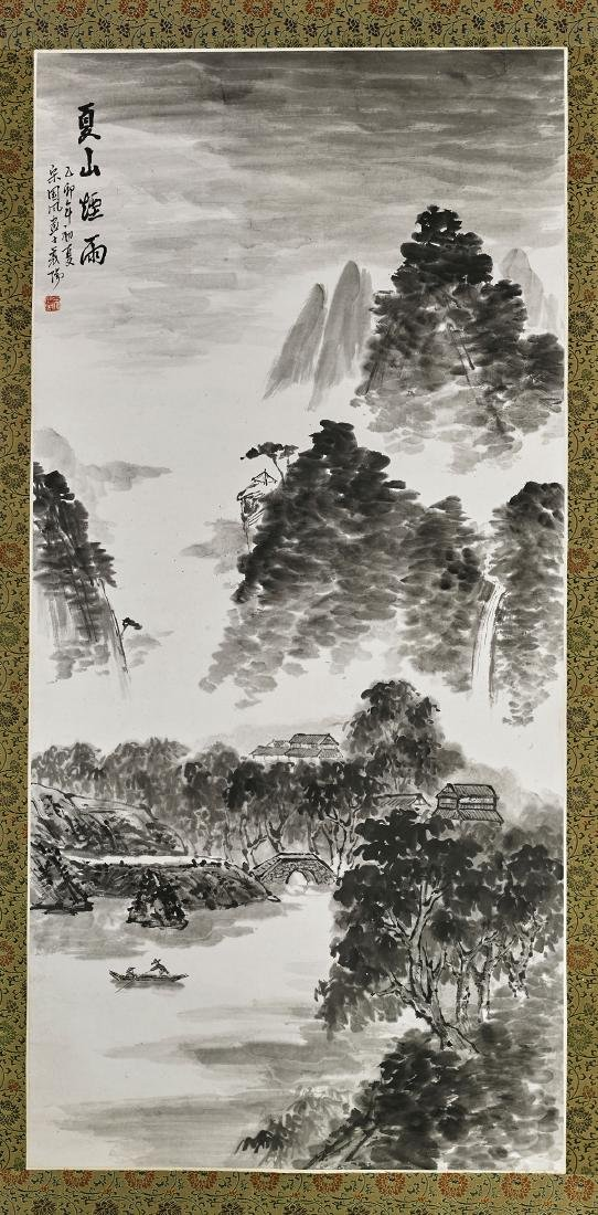 Two Chinese Paper Scrolls: Mountain Scenes