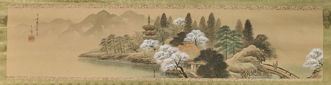 Two Chinese Paper Scrolls: Lotus & Landscape