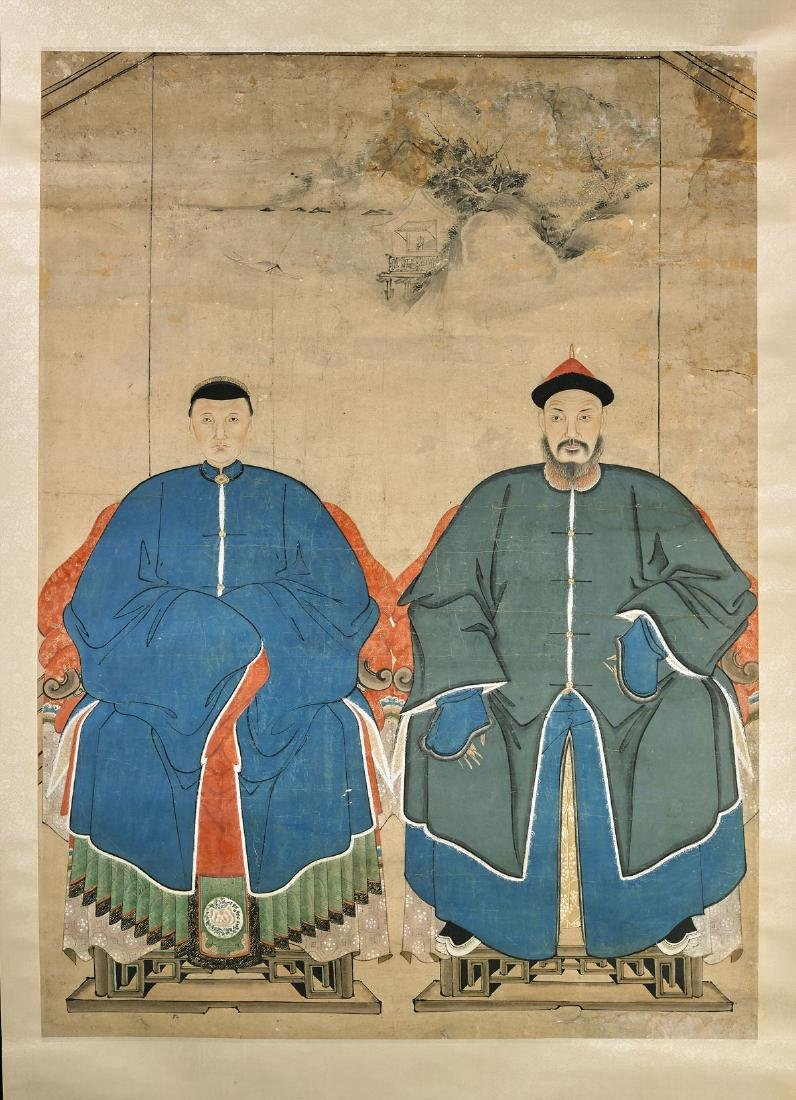 Antique Chinese Ancestral Portrait Scroll