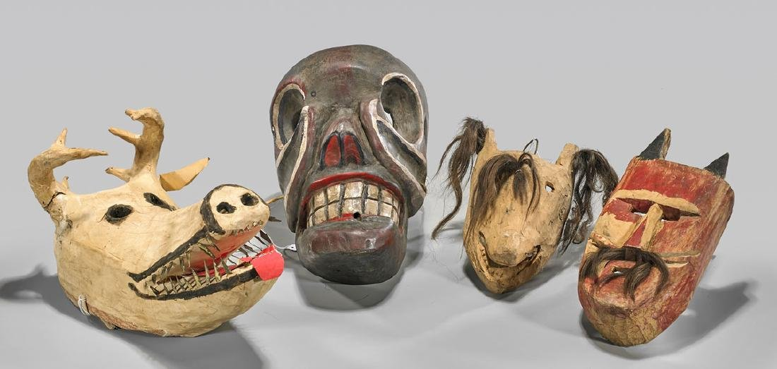 Group of Four Various Mexican Masks