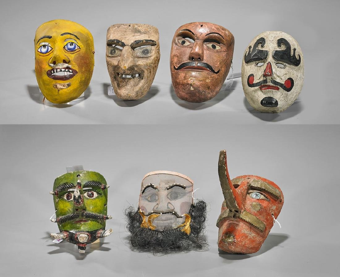 Group of Seven Mexican Dance Masks