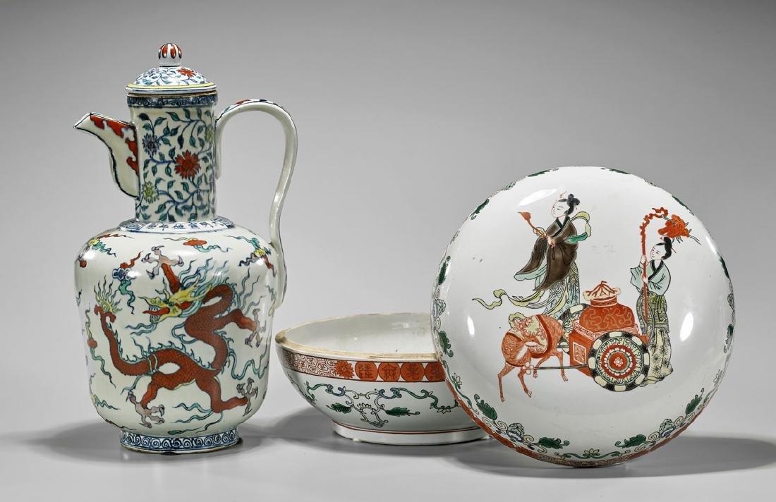 Old Chinese Porcelain Box & Ming-Style Glazed Ewer