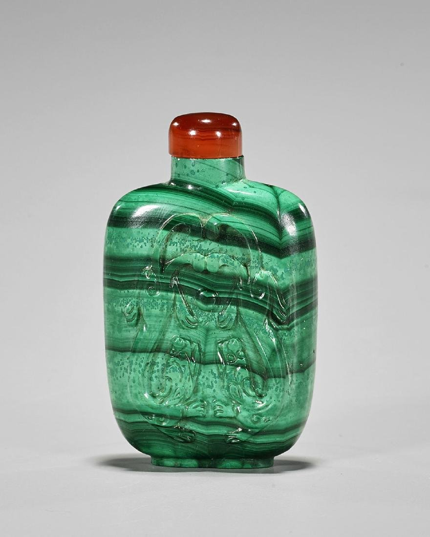 Carved Malachite Snuff Bottle