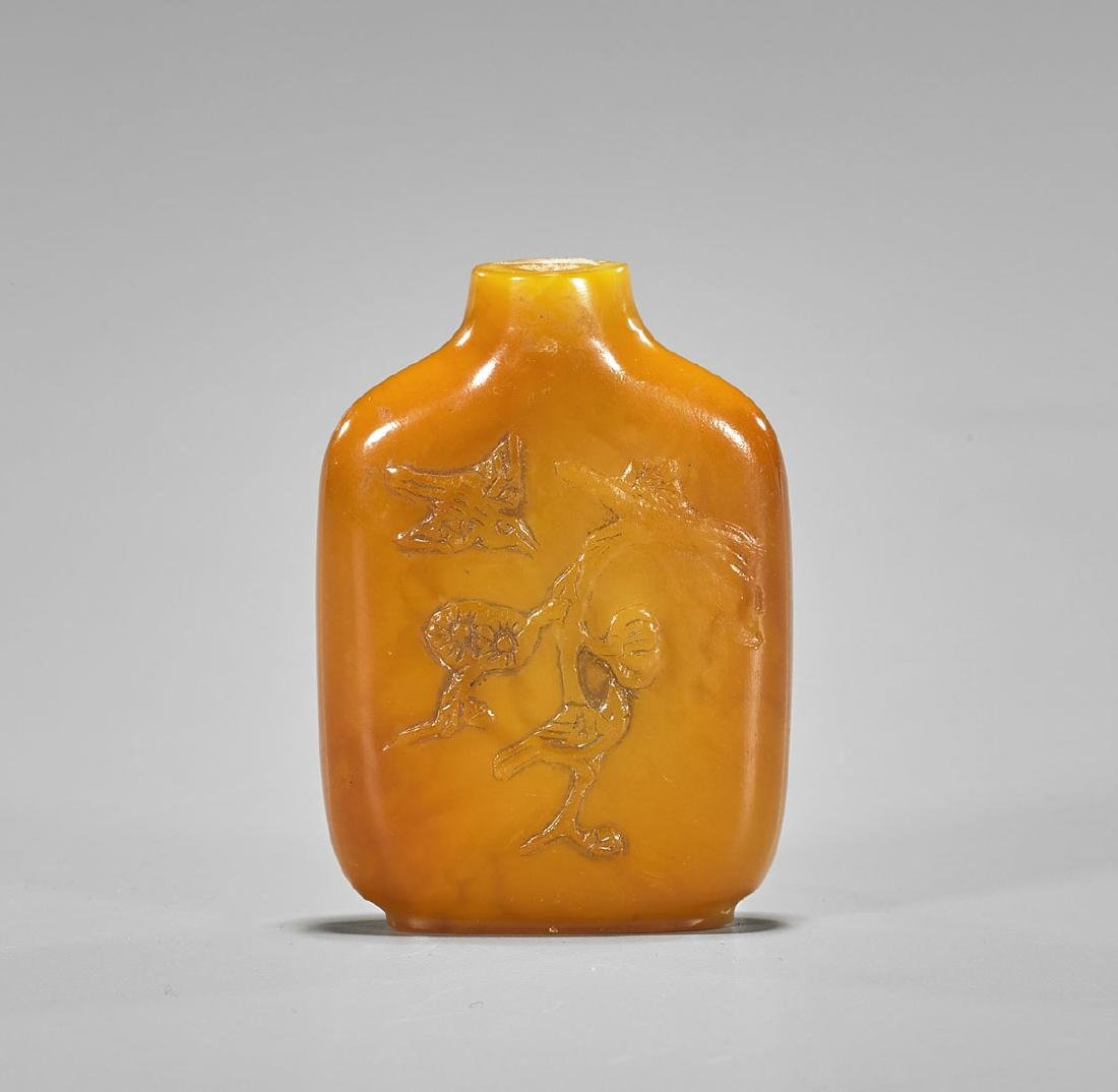 Old Amber Snuff Bottle: Birds & Flowers