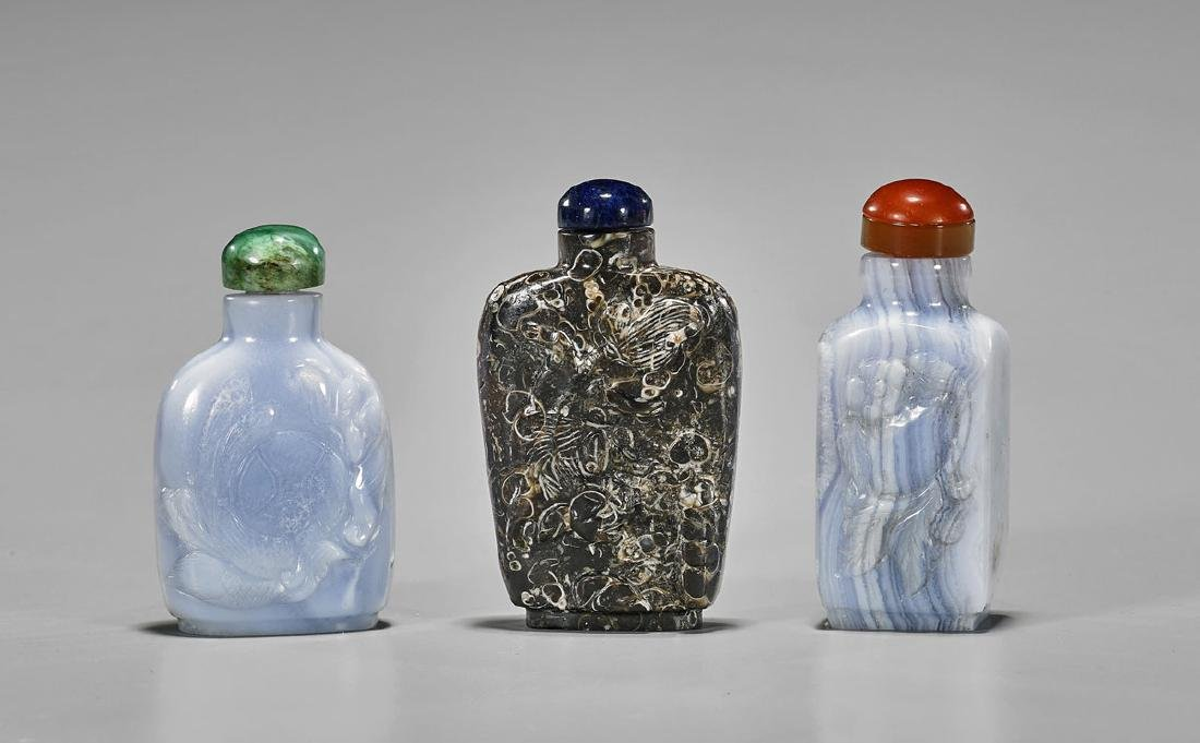 Group of Three Carved Snuff Bottles