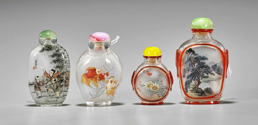 Four Old Inside-Painted Snuff Bottles