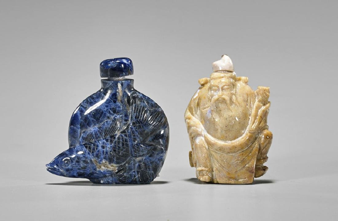 Two Carved Snuff Bottles: Sodalite & Opal