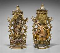 Two Antique Spanish Colonial Enshrined Figures