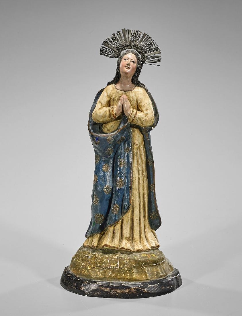 Antique Spanish Colonial Figure: Madonna