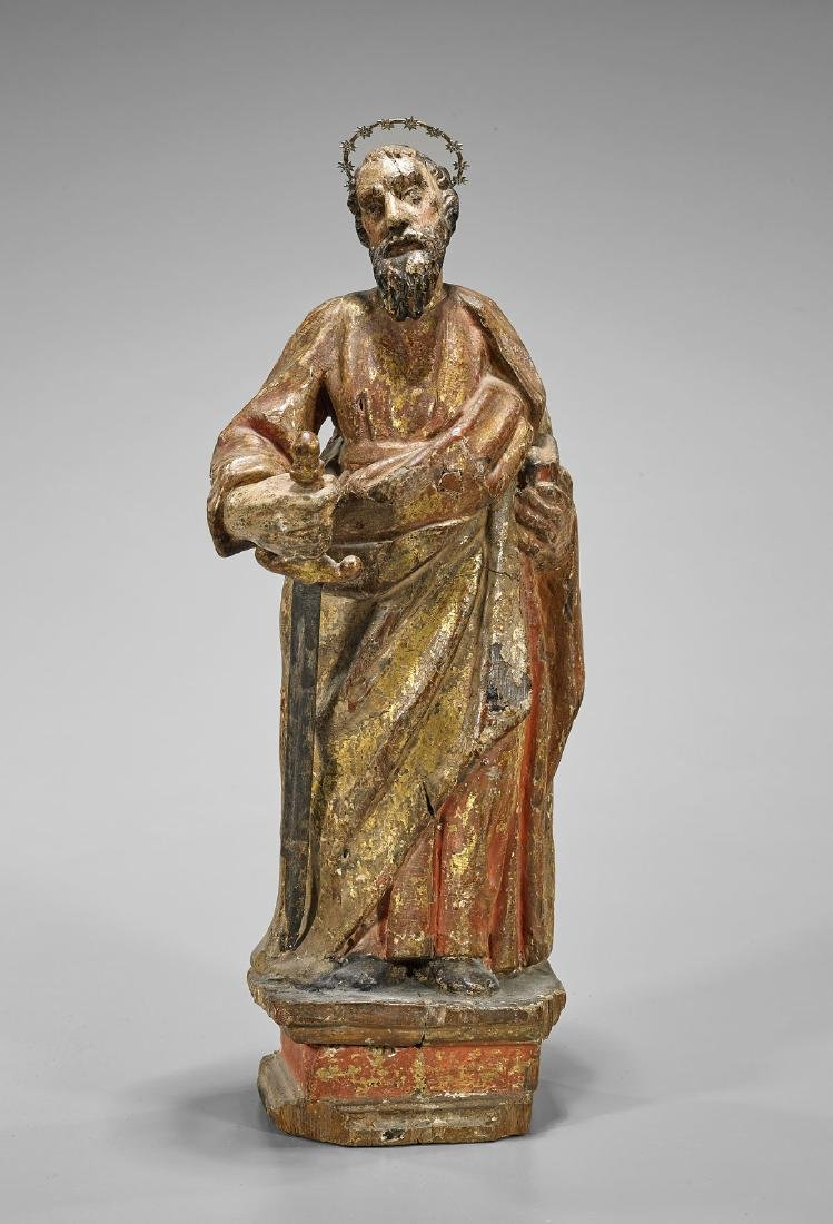 Antique Spanish Colonial Figure of St. Paul