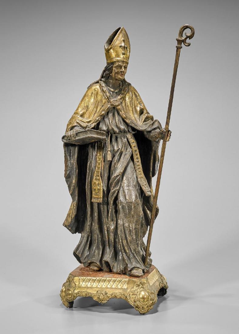 Antique Carved & Parcel-Gilt Figure: Bishop
