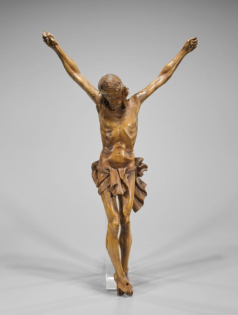 Carved Wood Figure: Cruciform Christ
